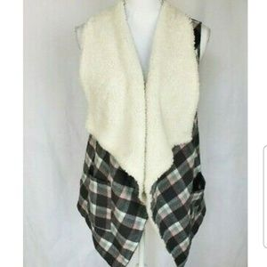 Anthropologie Plaid Sherpa Vest Small